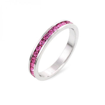 Stylish Stackables Pink Crystal Ring