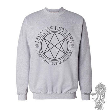 Men Of Letters Stamus Contra Malum Supernatural printed on White or Light steel Crew neck Sweatshirt