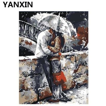 YANXIN DIY Frame Painting By Numbers Oil Paint Wall Art Pictures Decor For Home Decoration H035