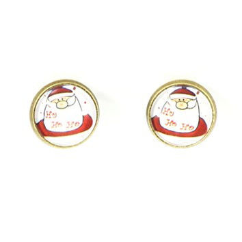 Santa Claus Clip On Stud Earrings Christmas Saint Nicholas Art EG08 Gold Tone Posts Fashion Jewelry