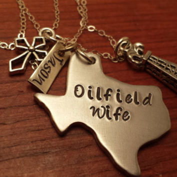 "Hand stamped personalized Texas (could use another state) necklace oilfield. ""Oilfield Wife""-Oilfield gift-Texas oilfield-Oilfield life"