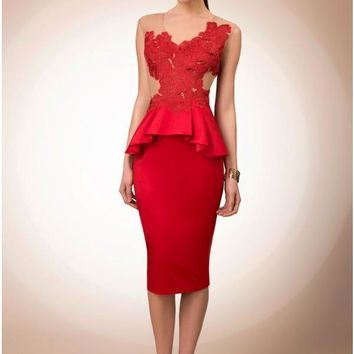 Top Sale 2017 Red Cocktail Dresses Sheath Jewel Sleeveless Knee Length Satin With Delicate Lace Open Back Short Party Dress
