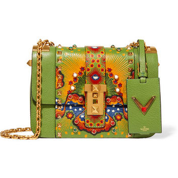 Valentino - B-Rockstud printed textured-leather shoulder bag