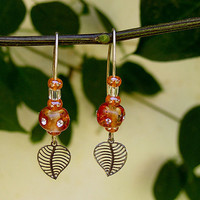 Dangling Beads Earrings, Handmade Long Earrings, Red Orange Lampwork Glass Beads Earrings with Goldfilled Hook
