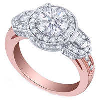 Engagement Ring - Vintage Style Pink Gold Round Diamond Halo Engagement Ring with Baguettes 0.84 tcw. - ES618