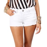 SALE-White Distressed Shorts