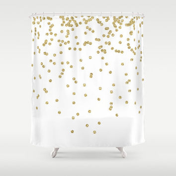Shower Curtain - Gold Shower Curtain - Gold Dots Shower Curtain - Teen Shower Curtain - Girls Shower Curtain - Bathroom Shower Curtain
