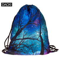 Top Quality 2015 womens daypacks ing bag for beach mochila feminina harajuku drawstring bag mens backpacks galaxy trees