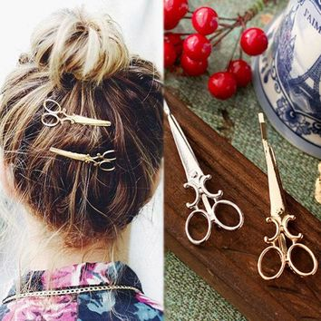 VONEUG5 2Pcs  Women Scissors Pattern Hairpin Individuality  Hair Clips Headpiece Barrettes Apparel Accessories  Hair Jewelry
