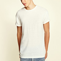 Heathered Knit Tee White