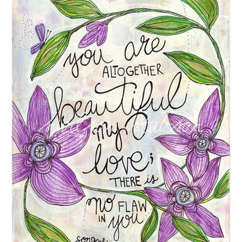 flower, quote, altogether beautiful, faith, bible, song of songs, 4:7, flower, nature, butterfly