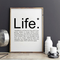 Meaning of Life Inspirational Quote, Dorm Decor, Printable wall art, printable art, Home decoration, Printable quote art