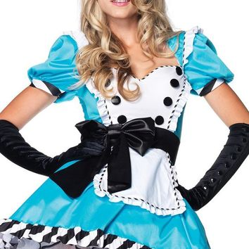 Wonderland Flirt Light Blue Black White Short Puff Sleeve Sweetheart Neck Ruffle Apron Bow Flare A Line Mini Dress Halloween Costume
