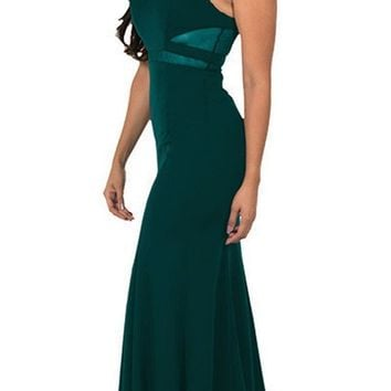 Green Mermaid Long Prom Dress with Sheer Cut-Outs