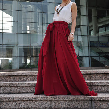 High Waist Maxi Skirt Chiffon Silk Skirts Beautiful Bow Tie Elastic Waist Summer Skirt Floor Length Long Skirt (037), #91