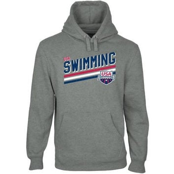 USA Swimming Team Triple Stripe Pullover Hoodie - Gunmetal