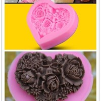 Hot New Heart Shape Rose Flower Silicone Polymer Clay Mould Fondant Sugar Chocolate Craft Cake Decor Mold (Size: 5.5cm by 5.5cm by 1.6cm, Color: Pink) = 5658092673