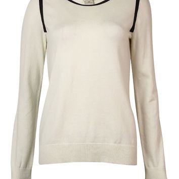 Anne Klein Women's Zipper Faux Leather Trim Sweater