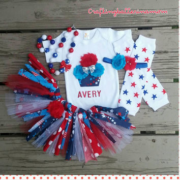 Fourth Of July Cupcake Stars Baby Girl Outfit - My First 4th of July - Memorial Day - Tutu - Onesuit - Personalized - Patriotic - 4th of July