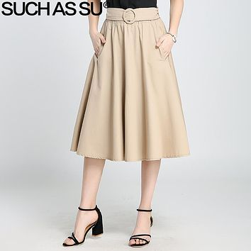 SUCH AS SU 2017 Summer Autumn Knit A-Line Skirts For Women Black Khaki Brown Pleated Skirt Elastic Waist Female Mid Long Skirt