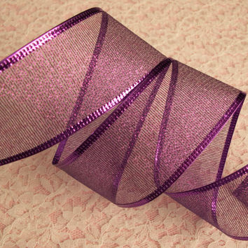 "Purple Christmas Ribbon, 1 1/2"" Wide, Wired Edge, Baskets, Bows, Wreaths, Holiday Home Decor, Ribbon Decorations, 5 YARDS"