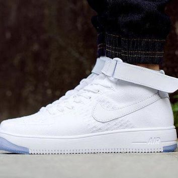 PEAPNW6 Originals Nike Air Force One 1 Flyknit Mid White Running Sport Casual Shoes '07 817420-100 Sneakers