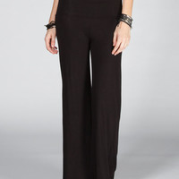 Full Tilt Fold Waistband Womens Palazzo Pants Black  In Sizes