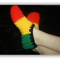Thick, warm Rasta Crocheted Slippers- Michigan Made