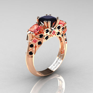 Classic 14K Rose Gold Three Stone Princess Black Diamond Peach Sapphire Solitaire Engagement Ring R500-14KRGPESBD