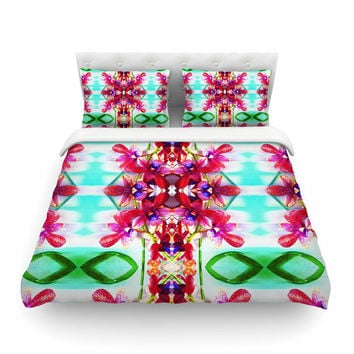 """Dawid Roc """"Tropical Floral Orchids 2"""" Pink Floral Featherweight Duvet Cover"""