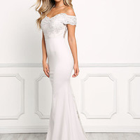 Light Grey Off Shoulder Tulle Embroidered Gown