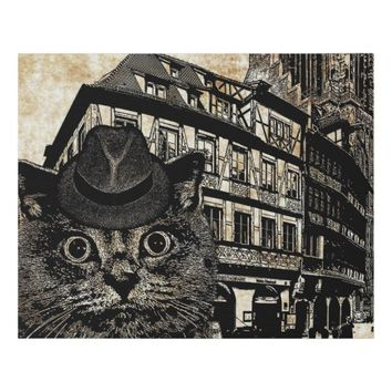 Cat Wearing Hat City Scape Art Faux Canvas Print