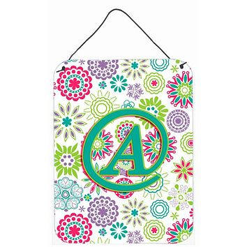 Letter A Flowers Pink Teal Green Initial Wall or Door Hanging Prints CJ2011-ADS1216
