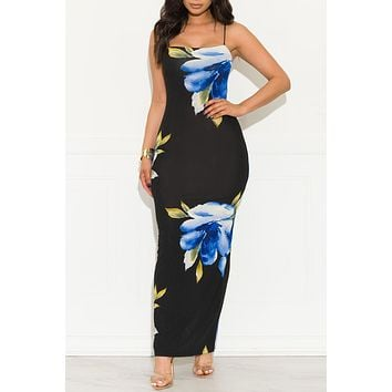 In My Dreams Floral Dress Black And Blue
