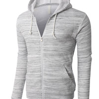 LE3NO PREMIUM Mens Lightweight Soft Fleece Full Zip Up Hoodie Jacket
