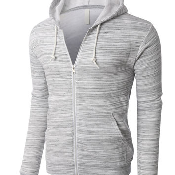 PREMIUM Mens Lightweight Soft Fleece Full Zip Up Hoodie Jacket