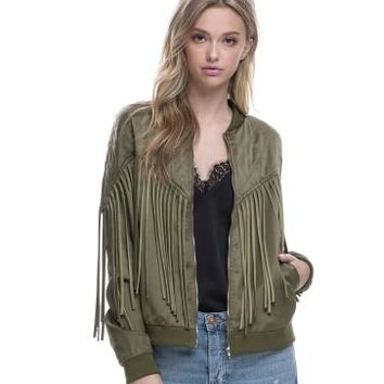 Women's Fringed Bomber Jacket