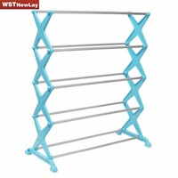 NEW Stainless Steel Folding 5 Tiers Stackable Shoes Rack Stand Storage Organizer Holder Space Saving Shelf Closet Free Shipping