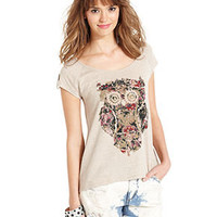 Eyeshadow Juniors Top, Cap-Sleeve Owl-Print Tee - Juniors Tops - Macy's
