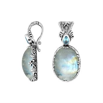AP-8027-RM Sterling Silver Pendant With Rainbow Moonstone & Blue Topaz