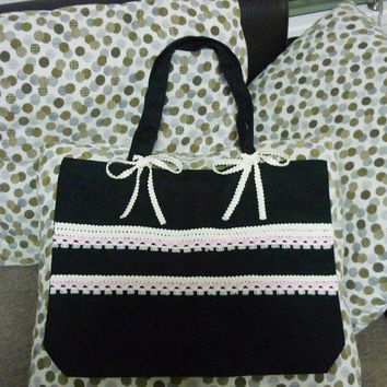 Lace black tote bag bow bag 18x14 inch/ large cotton bag/ shopping bag/ books tote bag/