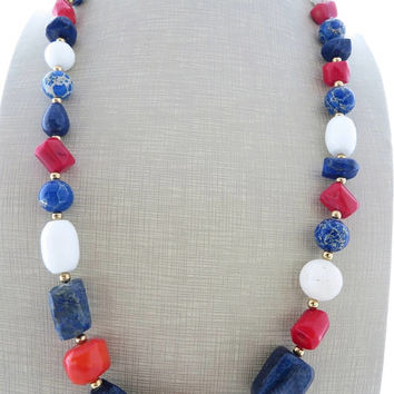 Blue lapis lazuli and red coral necklace, multi gemstone chunky necklace, summer necklace, white beaded necklace, italian stone jewelry