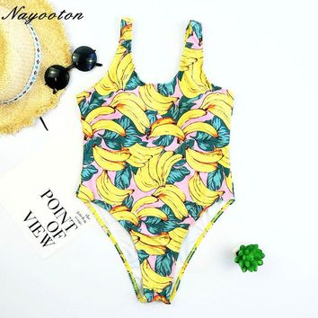 2018 Push Up New Hot Sell One Piece Swimwear Women Sexy Halter Bandage Beach Brazilian Swimsuit Banana Floral Print Bathing Suit