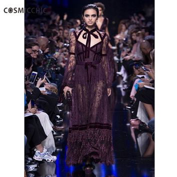 Luxury Lace With Sleeves Maxi Party Mesh Slim Women Vintage Long Bodycon Sexy Dress Runway Dresses LY254