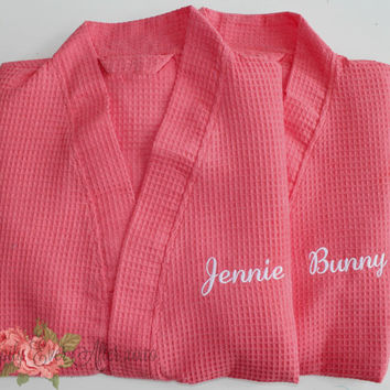 Wedding Robe Personalized Spa Robe Custom Embroidery Coral Robe Monogram Gift