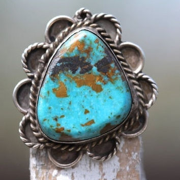 1 Turquoise Ring Sterling Silver Boho