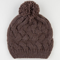 Chunky Cable Knit Beanie Taupe One Size For Women 22375041301