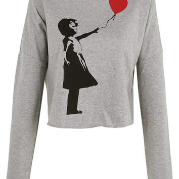 Banksy Girl with Heart Balloon print crop top shirt womens ladies crop sweat