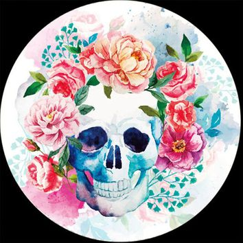 VONE7HQ Watercolor Floral Skull Microfiber Round Beach Towel