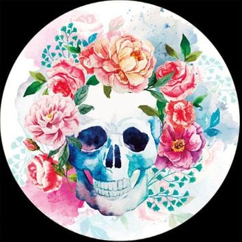 LMFON Watercolor Floral Skull Microfiber Round Beach Towel